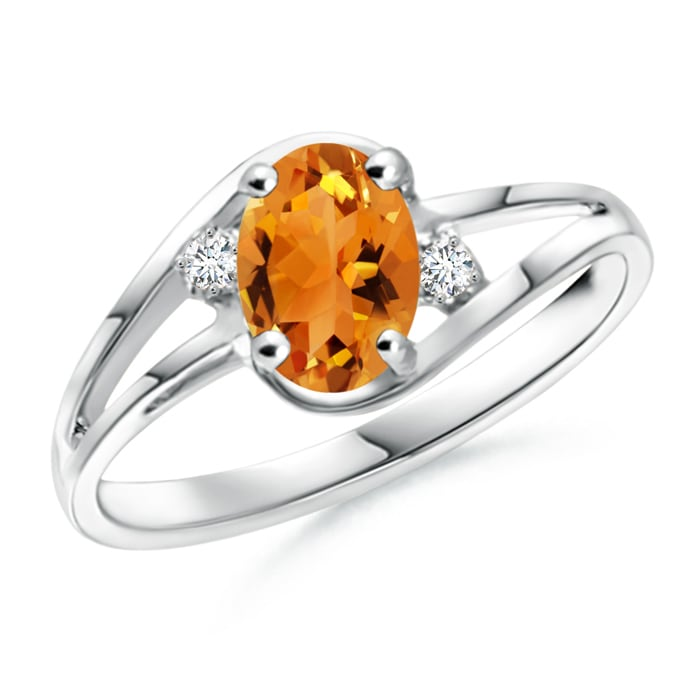 Angara Solitaire Oval Citrine Floral Ring with Diamond