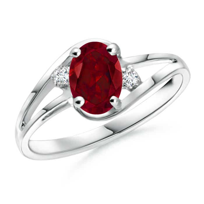 Angara Split Shank Solitaire Oval Garnet Ring with Diamond