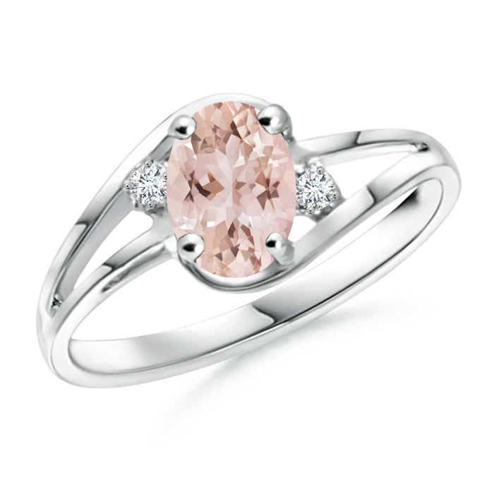 Angara Prong-Set Solitaire Morganite Split Shank Ring fK6QmM9g