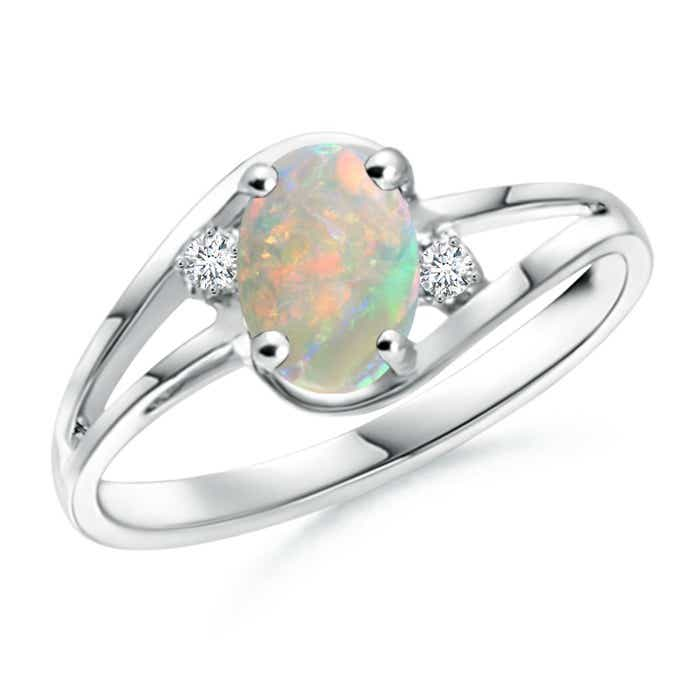 Angara Diamond and Opal Three Stone Ring in White Gold MDuFH8PQ
