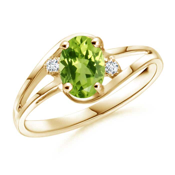Angara Split Shank Solitaire Oval Peridot Ring with Diamond