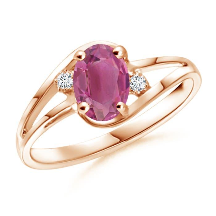 Angara Split Shank Pink Tourmaline Engagement Ring in Rose Gold tSbZv