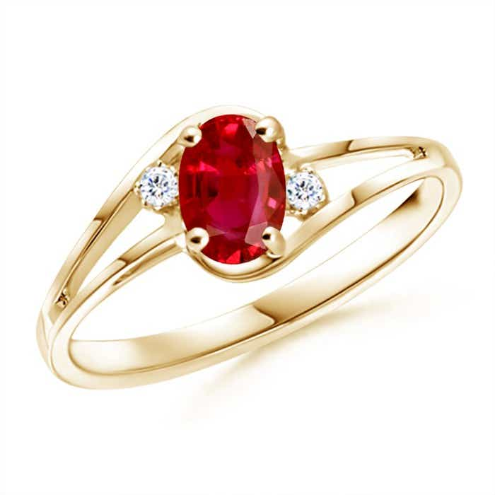Angara Tapered Shank Ruby Solitaire Ring with Tiny Diamond in 14k Yellow Gold fOXuBNe