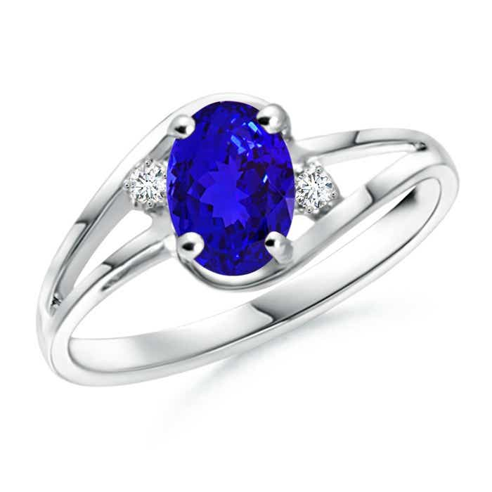 Angara Tanzanite and Diamond Split Shank Ring in White Gold