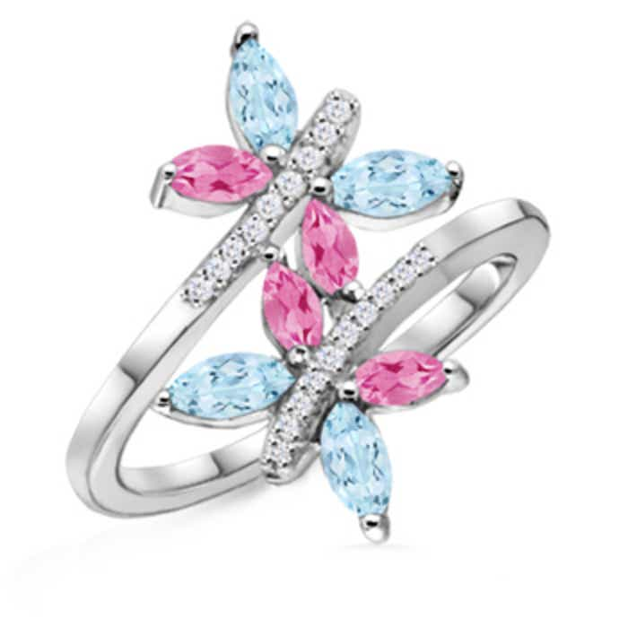 Angara Pink Sapphire and Diamond Butterfly Bypass Ring pgmvPN