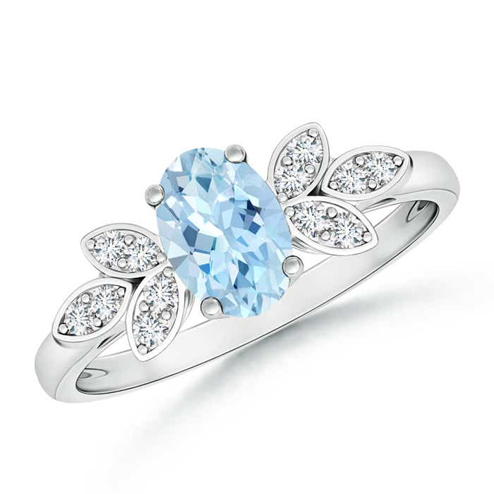 Angara Oval Aquamarine Ring with Diamond Band Set in Platinum
