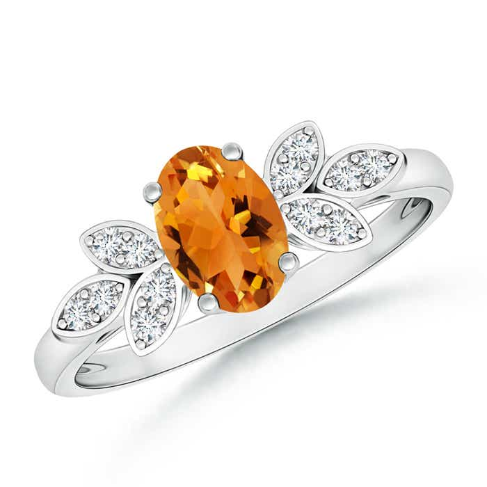 Angara Solitaire Oval Citrine Ring with Trio Diamond Accents in Yellow Gold fnKDtsBnEW
