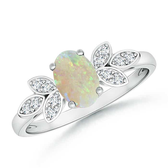 Angara Oval Shaped Opal Solitaire Ring with Diamond Accents NaHjy1b