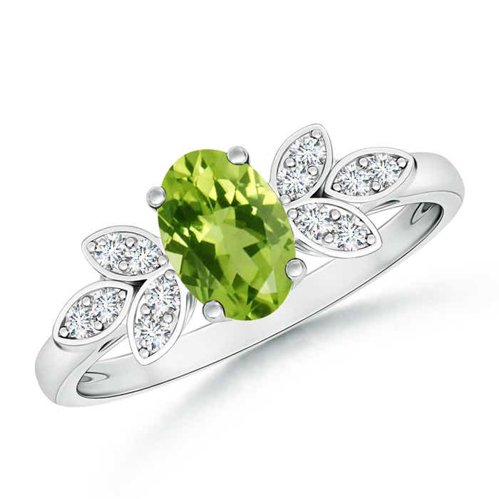 Angara Oval Peridot Ring with Diamond Band Set in Platinum 3SWE3