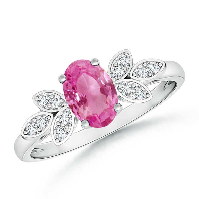 Angara Oval Pink Sapphire Vintage Ring with Diamond Accents