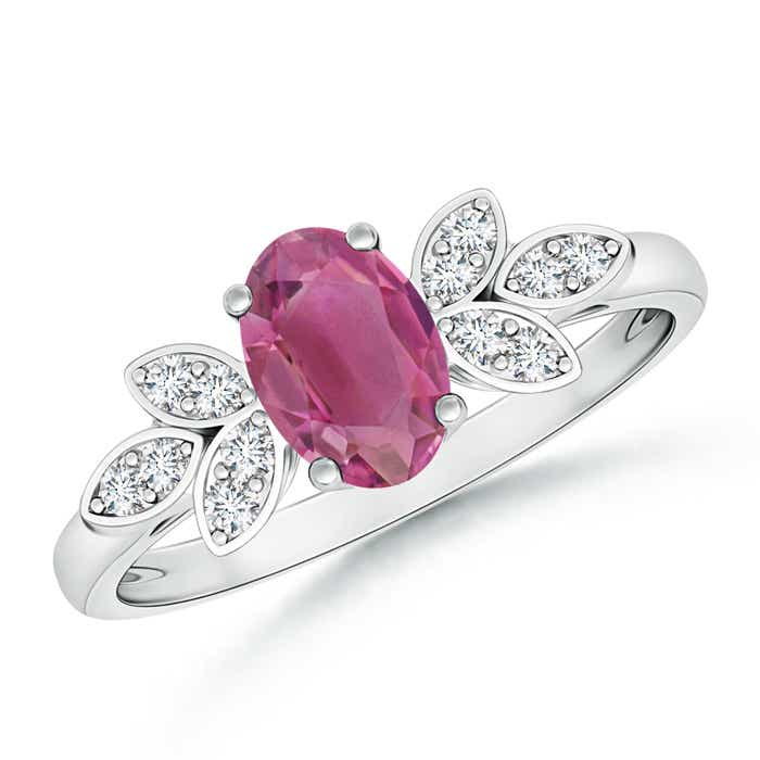 Angara Vintage Inspired Oval Pink Tourmaline Halo Ring in 14K Yellow Gold VT2KborI2