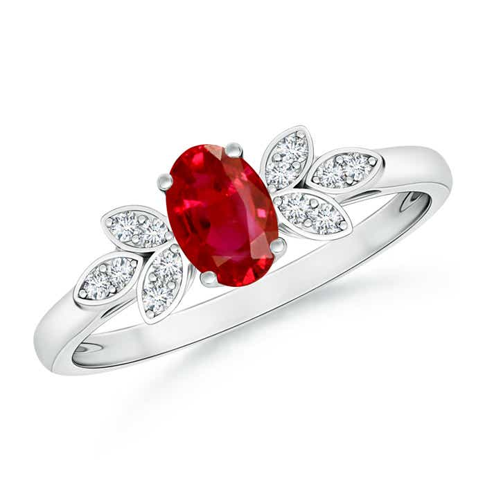 Angara Oval Solitaire Ruby Vintage Leaf Inspired Ring in 14k Yellow Gold