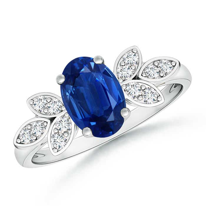Vintage Style Oval Blue Sapphire Ring With Diamond Accents Angara