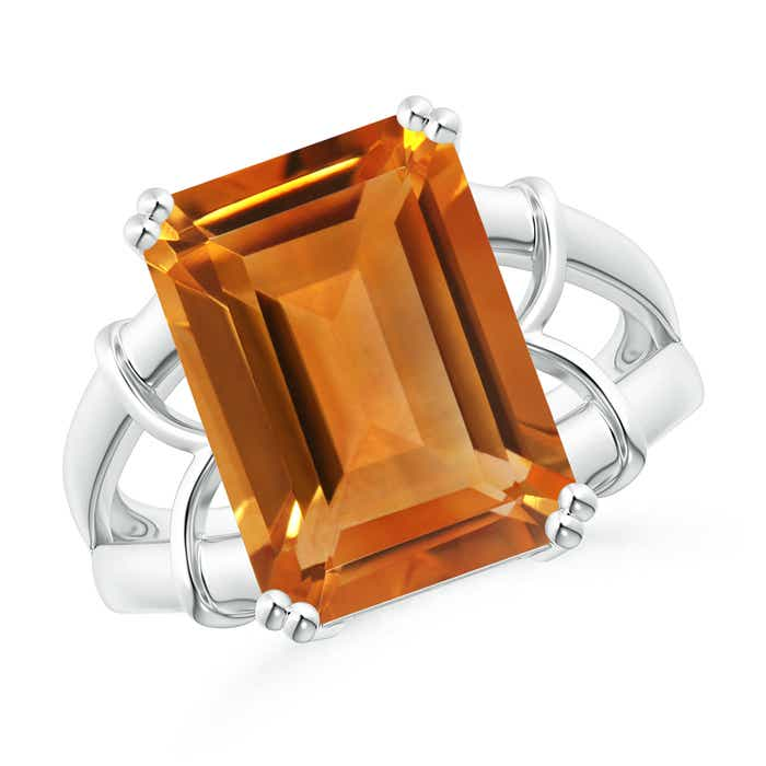 Angara Twist Shank Emerald-Cut Citrine Statement Ring in Yellow Gold