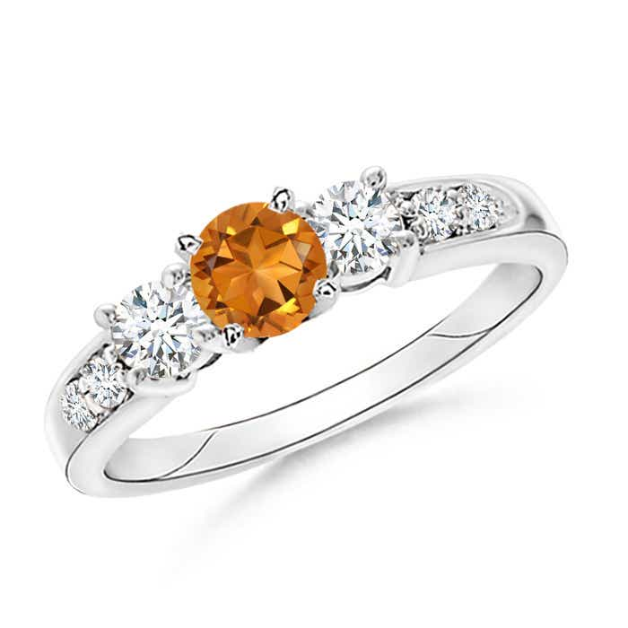 Angara Prong Set Round Citrine and Diamond Three Stone Ring in 14K Rose Gold HyEldv