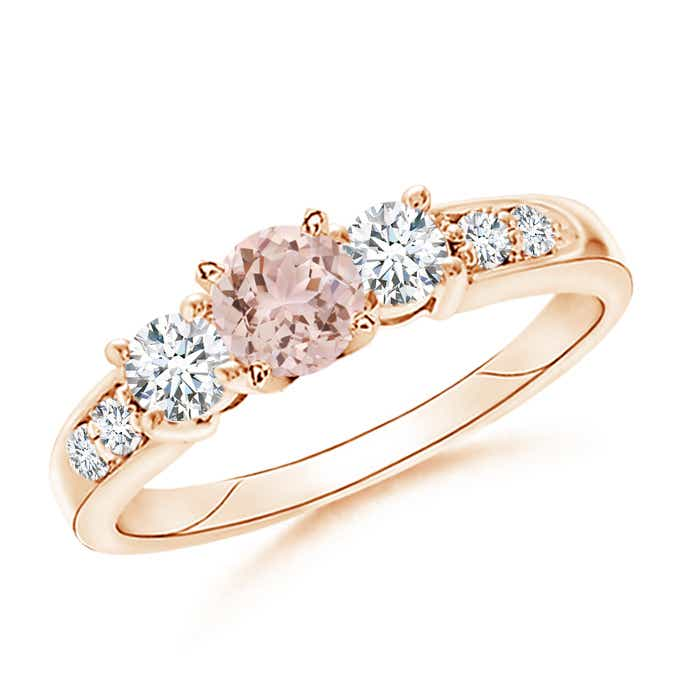 Angara Three Stone Morganite and Diamond Ring in Rose Gold 7rGLb1Puh