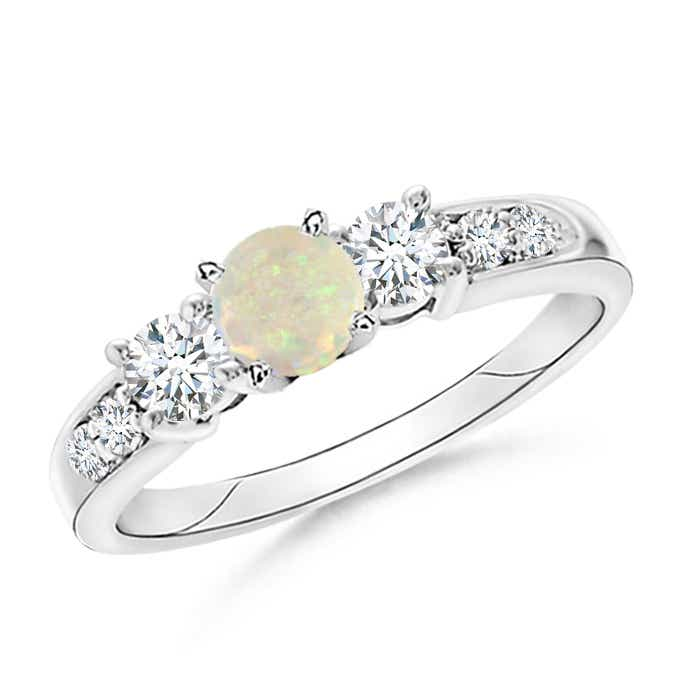 Angara Three Stone Opal and Diamond Engagement Ring in Rose Gold 7xgvES