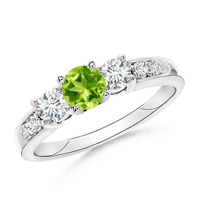 Angara Three Stone Peridot Diamond Engagement Ring in Platinum 163CZnuw