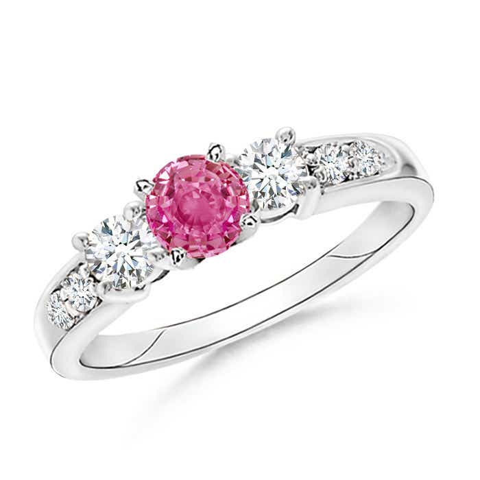 Angara Prong Set Round Pink Sapphire and Diamond 3-Stone Ring in Rose Gold