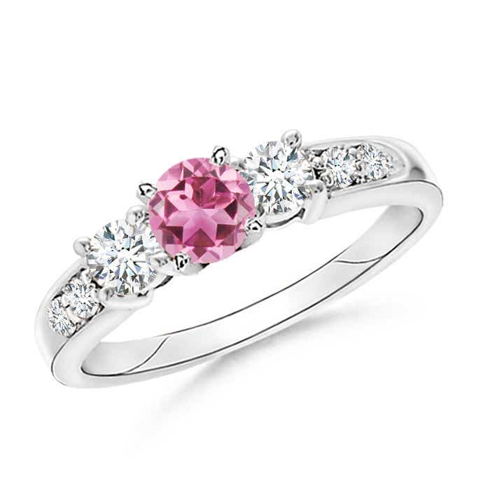 Angara Round Pink Tourmaline and Diamond Three Stone Ring in Platinum Frlvso