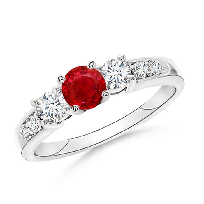 Angara Bezel-Set Round Ruby Three Stone Ring gNeRxhLvuR