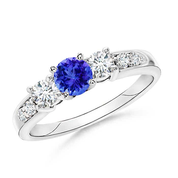 Angara Three Stone Tanzanite and Diamond Ring in White Gold ifs0E