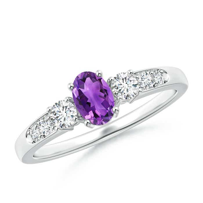 Angara Three Stone Oval Amethyst and Half Moon Diamond Ring