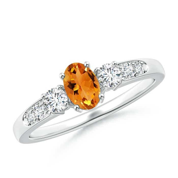 Angara Three Stone Citrine and Diamond Ring in 14K Rose Gold M6VF4sv