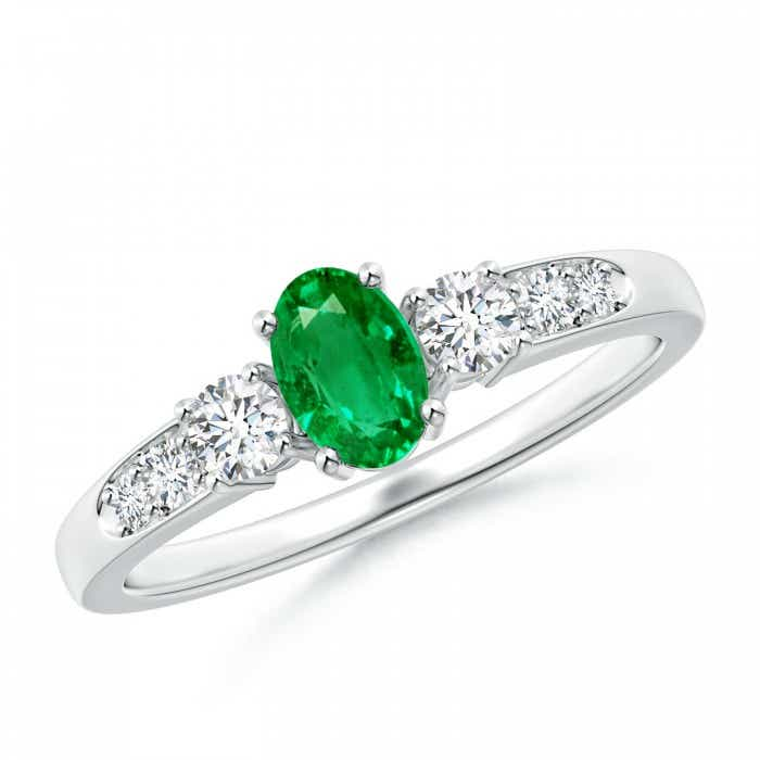 Angara Round Emerald Halo Ring with Diamond Accent in 14K Yellow Gold KFPGzK