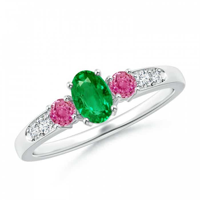 Angara Emerald-Cut Garnet and Trapezoid Diamond Three Stone Ring White Gold