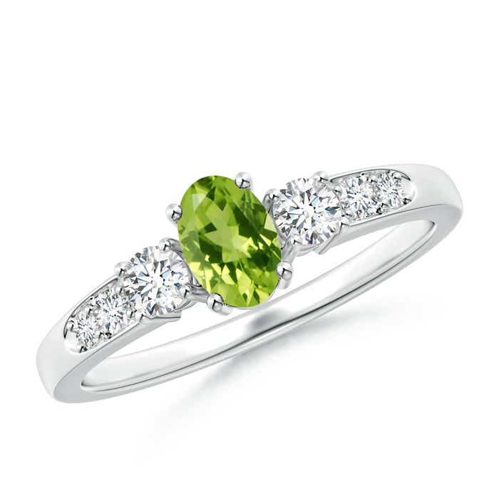 Angara Peridot and Diamond Three Stone Engagement Ring in Rose Gold whzWsYK