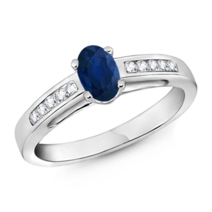 Angara Oval Sapphire 3 Stone Ring With Round Diamonds in White Gold