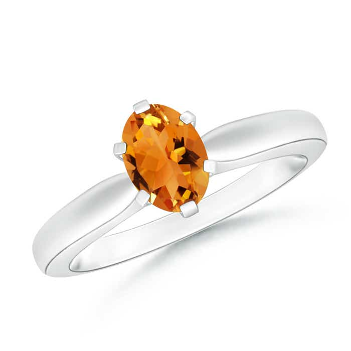 Angara Solitaire Oval Citrine Floral Ring with Diamond in Yellow Gold E4sIJK23