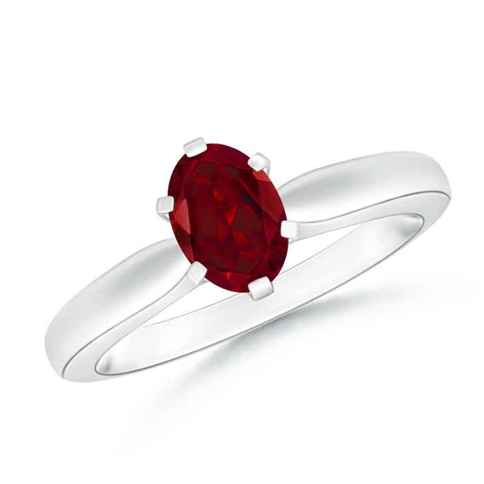Angara Tapered Shank Garnet Solitaire Ring with Diamond Accents yjgjJGMvx