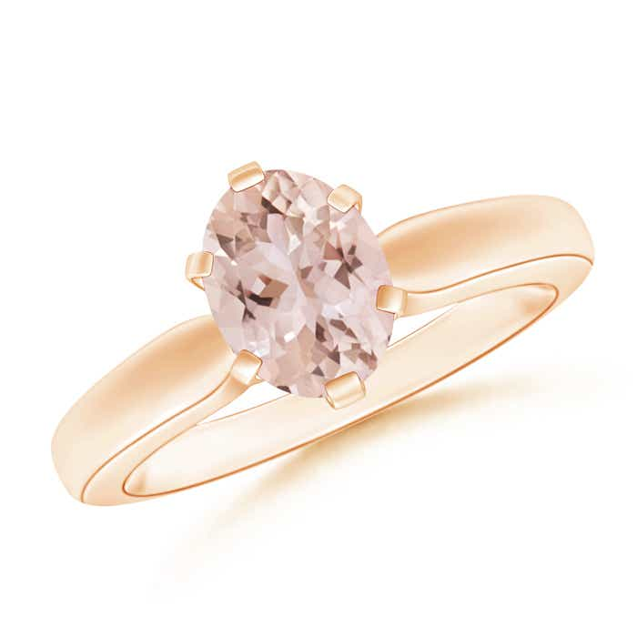 Angara 6 Prong Tapered Shank Oval Solitaire Pink Sapphire Ring in Rose Gold