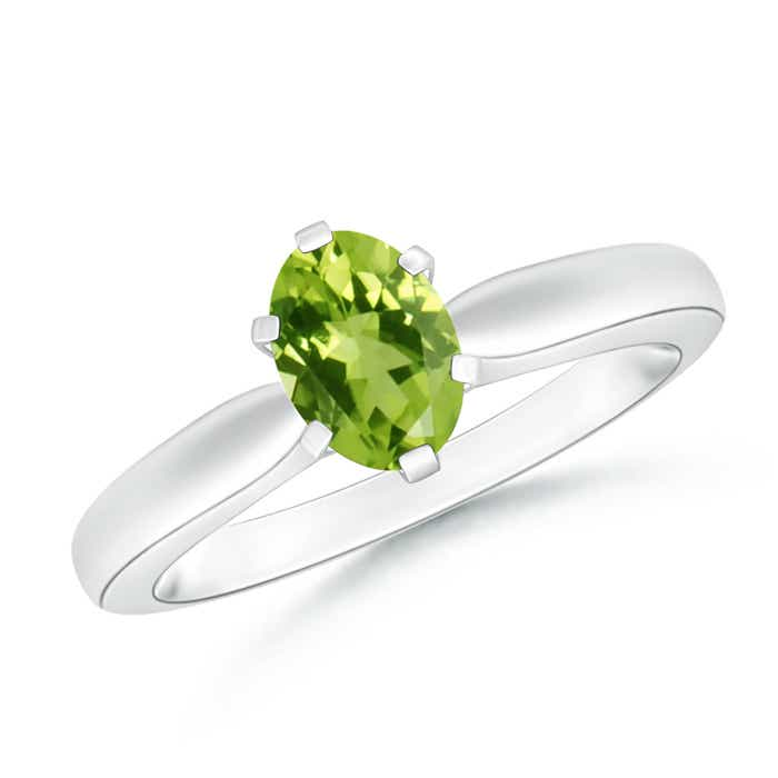 Angara 6 Prong Tapered Shank Oval Solitaire Peridot Ring I0Yr0JHH
