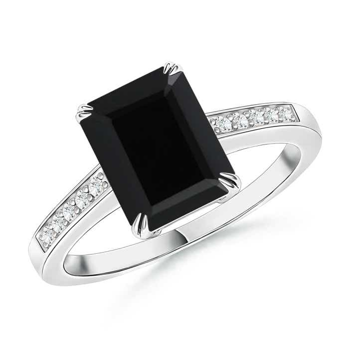 Angara Emerald-Cut Black Onyx Diamond Engagement Ring in Platinum 32dZk3m