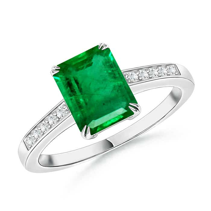 Angara Rose Gold Emerald-Cut Emerald Ring okB2y