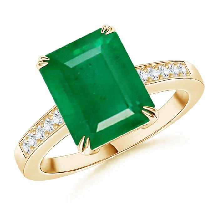 Angara Emerald Cocktail Ring in White Gold dXZaX8E