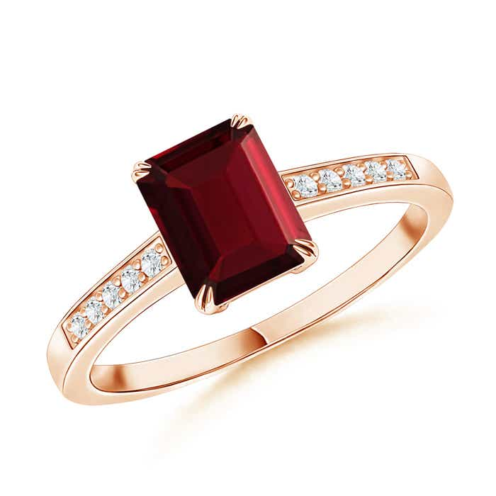 Angara Claw Set Emerald Cut Garnet Ring with Diamond Accents RwORWCby