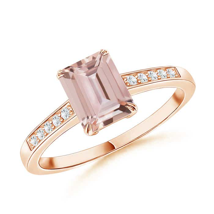 Angara Double Prong-Set Morganite Cocktail Ring in Yellow Gold 935bPN