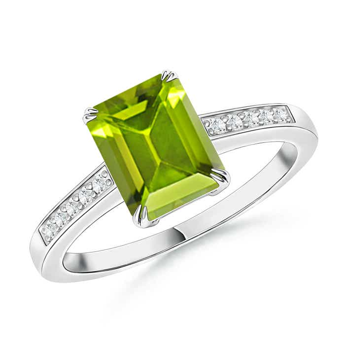 Angara Yellow Gold Emerald-Cut Peridot Ring N7pmNE