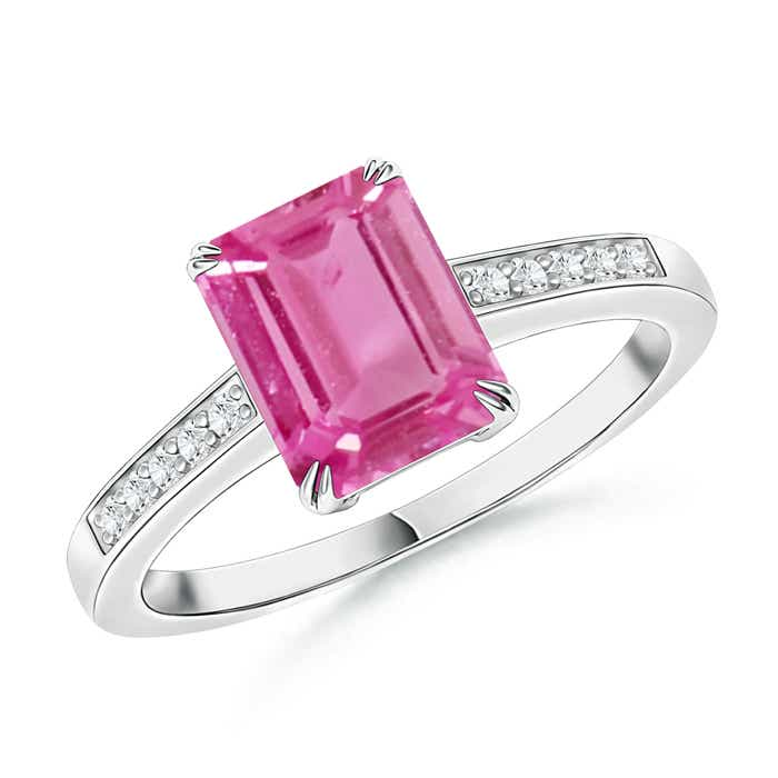 Angara Emerald-Cut Pink Sapphire Diamond Engagement Ring in Yellow Gold NBDqIC6rQt