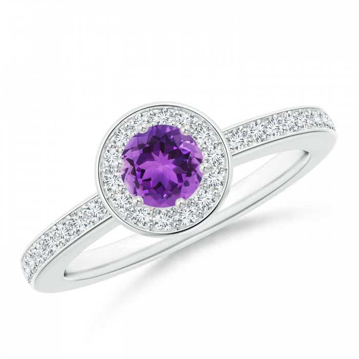 Angara Floating Diamond Halo Amethyst Cathedral Ring EMuypNf