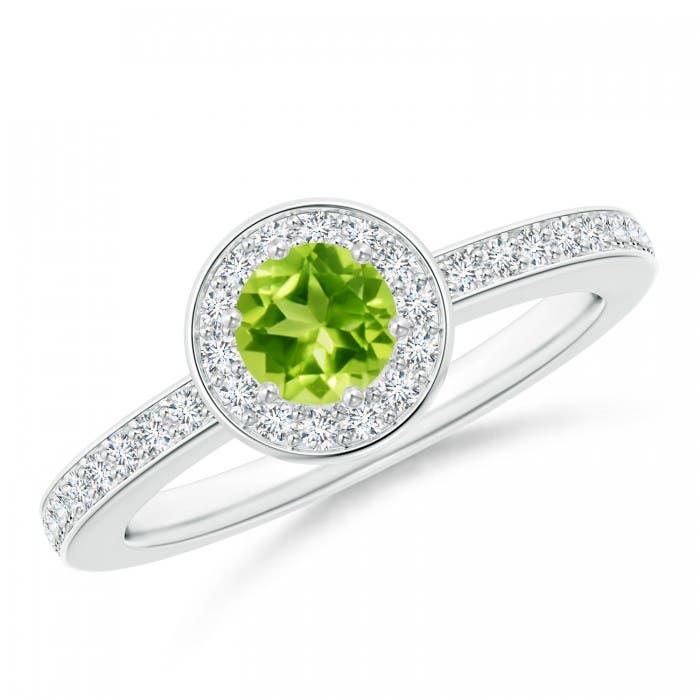 Angara Round Peridot Halo Engagement Ring in Platinum kbazS