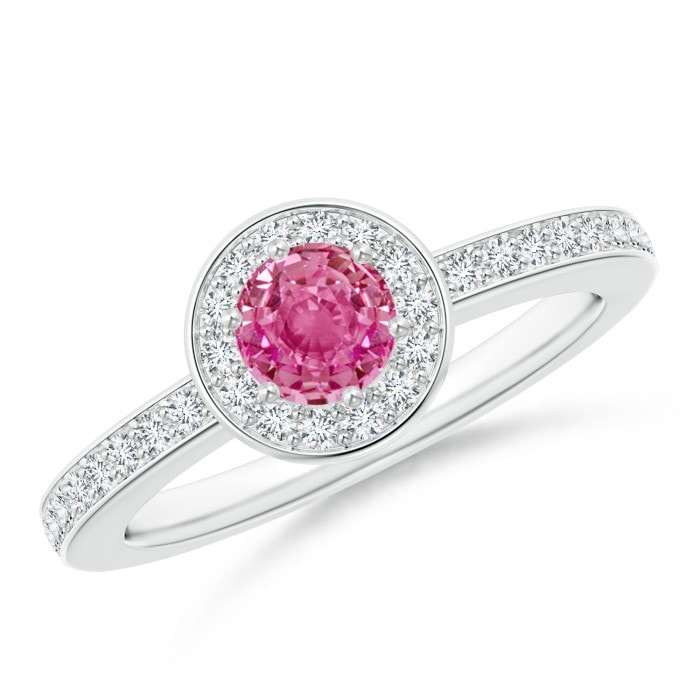 Angara Round Pink Sapphire Halo Ring with Diamond Accents in 14K Yellow Gold