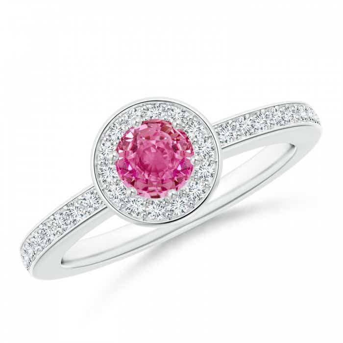 Angara Pink Sapphire Diamond Halo Engagement Ring in Platinum 20sUNA