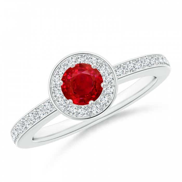 Angara Ruby Halo Ring with Diamond Accents in Rose Gold 211f7