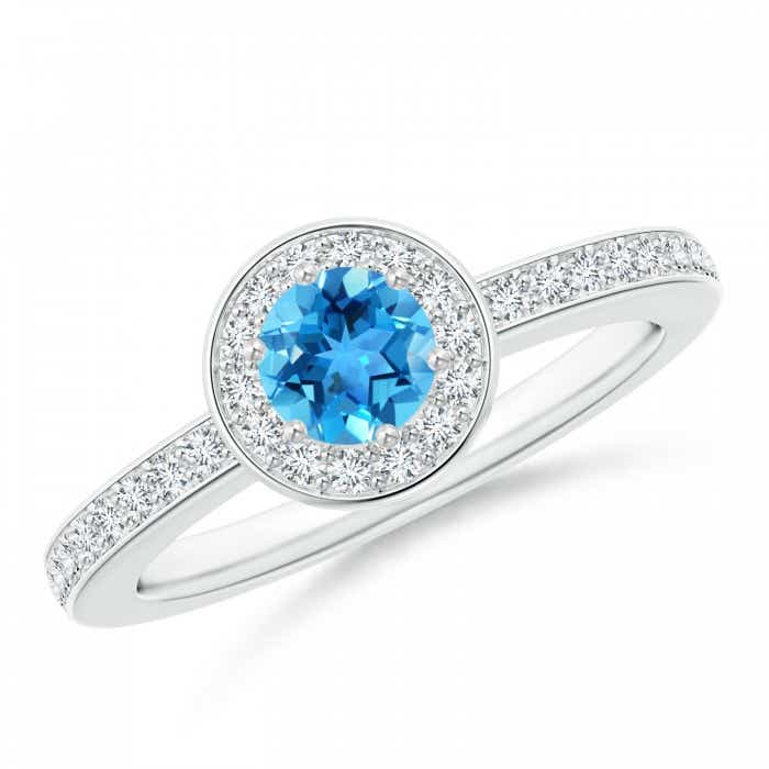 Angara Diamond Halo and Swiss Blue Topaz Engagement Ring in White Gold clmil