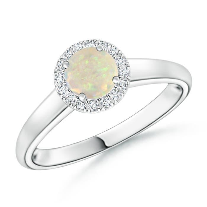 Angara Round Opal and Diamond Halo Engagement Ring in Platinum YJu6s